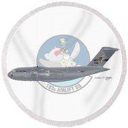 Round Beach Towel featuring the digital art Boeing C-17 Globemaster IIi by Arthur Eggers