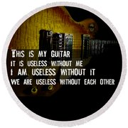 Round Beach Towel featuring the photograph Colorful Music Rock N Roll Guitar Retro Distressed  by Guitar Wacky