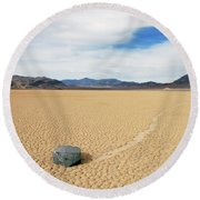 Death Valley Racetrack Round Beach Towel