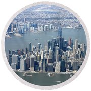 Downtown Manhattan Round Beach Towel