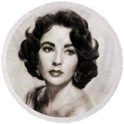 Elizabeth Taylor, Vintage Hollywood Legend Round Beach Towel