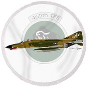 F-4e Phantom II Round Beach Towel by Arthur Eggers