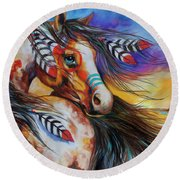 5 Feathers Indian War Horse Round Beach Towel