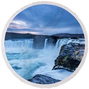 Godafoss Waterfall In Iceland Round Beach Towel by Joe Belanger
