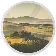 Golden Tuscany Round Beach Towel by JR Photography
