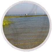 Round Beach Towel featuring the photograph Mackinac Bridge by Tara Lynn