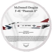Mcdonnell Douglas F-4e Phantom II Thunderbird Round Beach Towel