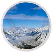 Mountains And Glaciers In Wrangell-st Round Beach Towel