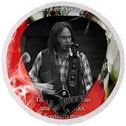 Neil Young Art Round Beach Towel