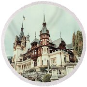 Neo-renaissance Peles Castle Built In 1873 In Carpathian Mountains Round Beach Towel by Radu Bercan