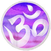 Om Symbol. Light Purple Pastels Round Beach Towel