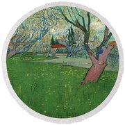 Orchards In Blossom, View Of Arles Round Beach Towel