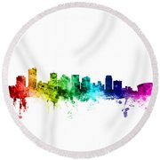 Phoenix Arizona Skyline Round Beach Towel by Michael Tompsett