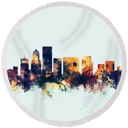 Portland Oregon Skyline Round Beach Towel