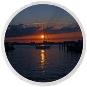 Round Beach Towel featuring the photograph 5- Sailfish Marina Sunset In Paradise by Joseph Keane