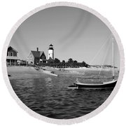 Round Beach Towel featuring the photograph Sandy Neck Lighthouse by Charles Harden