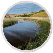 Stunning Colorful Summer Sunset Over English Countryside Landsca Round Beach Towel