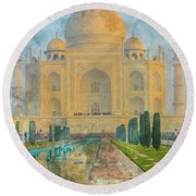 Taj Mahal In Agra India Round Beach Towel
