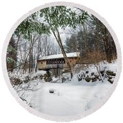 Tannery Hill Covered Bridge Round Beach Towel
