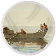 Three Boys In A Dory With Lobster Pots Round Beach Towel