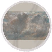 Title Cloud Study Round Beach Towel