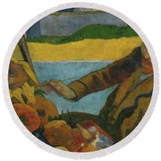 Vincent Van Gogh Painting Sunflowers  Round Beach Towel