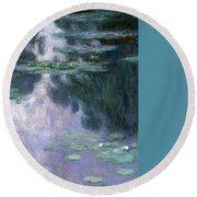 Waterlilies Round Beach Towel by Claude Monet