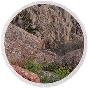 Round Beach Towel featuring the photograph Wichita Mountains by Iris Greenwell