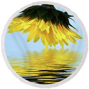 Nice Sunflower Round Beach Towel by Elvira Ladocki