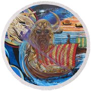 500 Empires Never Die - Odin Round Beach Towel