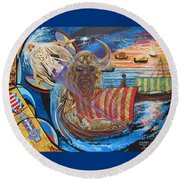 Blue Cat Productions 500 Empires Never Die - Odin Round Beach Towel