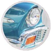 50s Chevy Chrome Round Beach Towel by Mike Reid