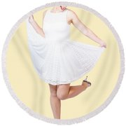 50s Pinup Woman In White Dress Dancing Round Beach Towel