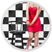 50s Woman Standing In Black And White Checked Cafe Round Beach Towel