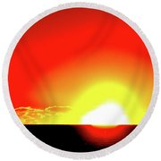 5.35.58 Am June 12-2016 Two  Round Beach Towel by Lyle Crump