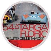 54th Targa Florio Porsche Race Poster Round Beach Towel