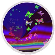 557   Butterflies Dance In The  Night V Round Beach Towel