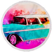 56 Chevy Nomad By The Sea In The Morning With Vivachas Round Beach Towel