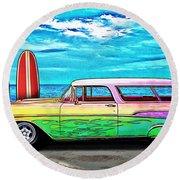 57 Chevy Nomad Wagon Best Part Of Waking Up Round Beach Towel