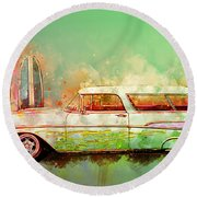 57 Chevy Nomad Wagon Blowing Beach Sand Round Beach Towel