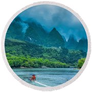 Karst Mountains And Lijiang River Scenery Round Beach Towel