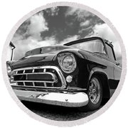 57 Stepside Chevy In Black And White Round Beach Towel