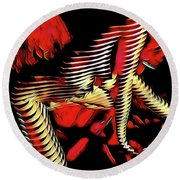5787s-mak Nude Woman Art Rendered In Red Palette Knife Style Round Beach Towel by Chris Maher