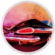 59 Chevy Ticket To Ride Watercolour Round Beach Towel