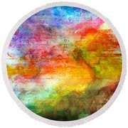 5a Abstract Expressionism Digital Painting Round Beach Towel