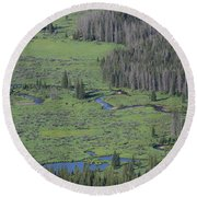 Scenery Rocky Mountain Np Co Round Beach Towel