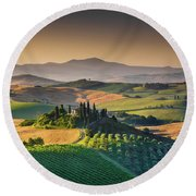 A Morning In Tuscany Round Beach Towel