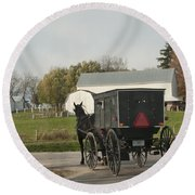 Amish Buggy Round Beach Towel
