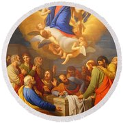 Round Beach Towel featuring the painting Angels by Munir Alawi