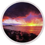 Round Beach Towel featuring the photograph Antelope Island Sunset by Norman Hall